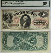 1878. $1. F-27. PMG. Ch AU-58. LTN.