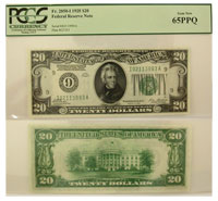 1928. $20. PCGS. Gem-65. PPQ. Federal Reserve Note