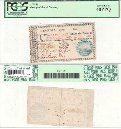 1777. GA. Five Dollars. PCGS. XF-40. PPQ.