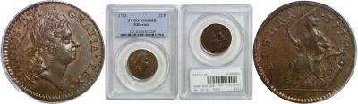 1723. Wood's Hibernia. PCGS. MS-63. RB.