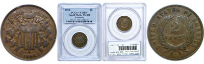 1864 Small Motto. PCGS. VF-25. BN.