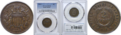 1864 Small Motto. PCGS. XF-40.