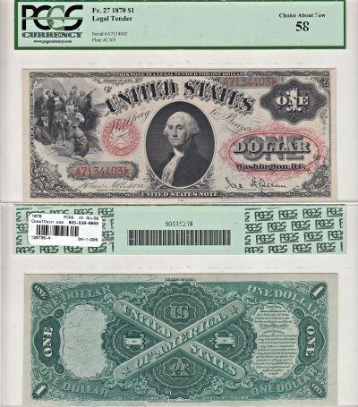 1878. $1. F-27. PCGS. Ch AU-58. LTN.