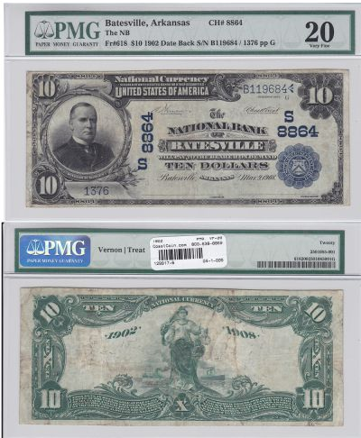 1902. $10. PMG. VF-20. AR. Batesville. Charter 886