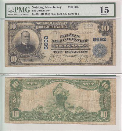 1902. $10. PMG. Ch F-15. NJ. Netcong. Charter 6692