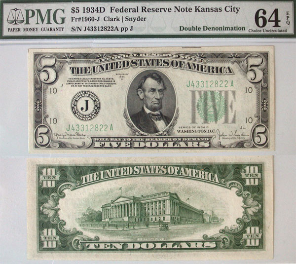 129734- 1934-D. $5/$10. PMG. Ch Unc-64. EPQ. Federal Reserve Note.