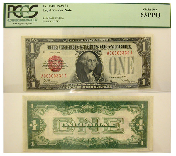 129811- 1928. $1. PCGS. Ch New-63. PPQ. Legal Tender Note.