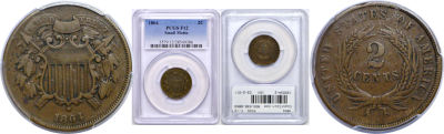 1864 Small Motto. PCGS. F-12.