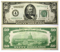 1928. $50. CAU. Federal Reserve Note.