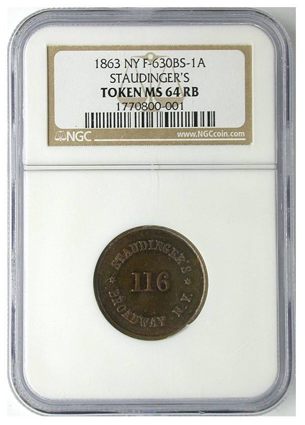 130402- 1863. NGC. MS-64. RB. Civil War Token.