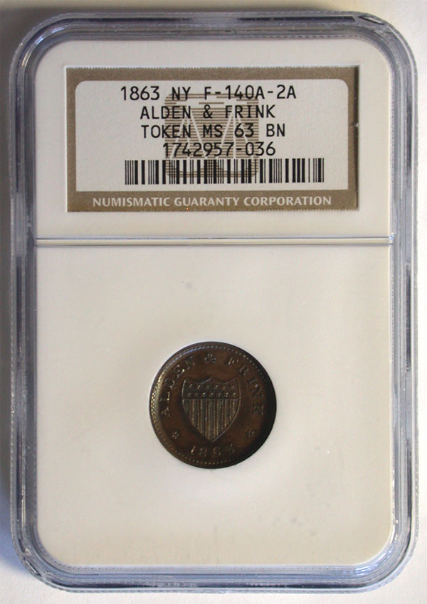 130414- 1863. NGC. MS-63. BN. Civil War Token.