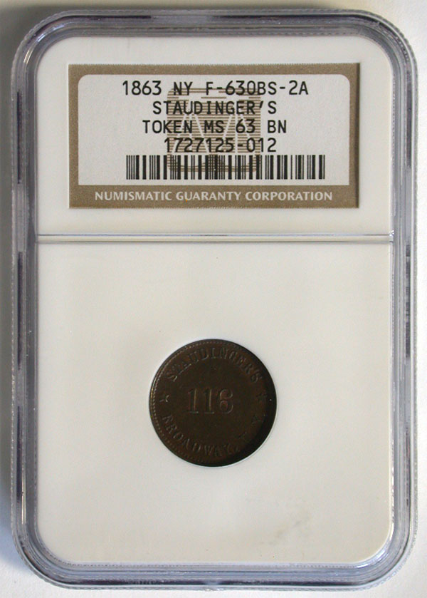 130489- 1863. NGC. MS-63. BN. Civil War Token.