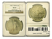 1986-P. NGC. MS-69. Statue of Liberty.