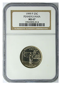 1999-P. NGC. MS-67. Pennsylvania.