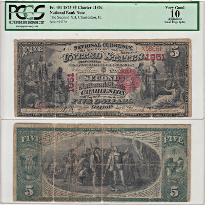1875. $5. PCGS. VG-10. Apparent. IL. Charleston. C