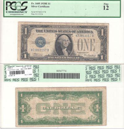 1928-E. $1. F-1605. PCGS. F-12. Silver Certificate