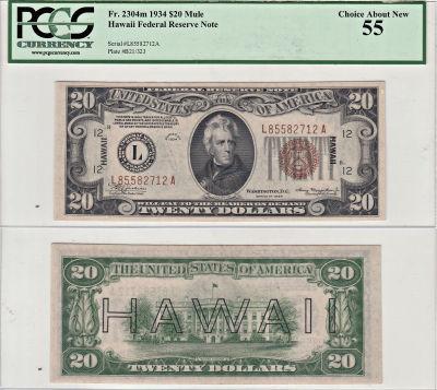 1934. $20. F-2304m. PCGS. Ch AU-55. Hawaii.