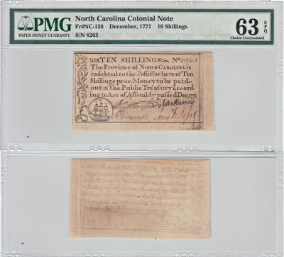 12/1771. NC. Ten Shillings. PMG. Ch Unc-63. EPQ.