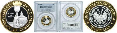 2000-W. PCGS. PR-69. DCAM. Library of Congress $10