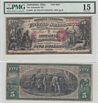 1875. $5. PMG. Ch F-15. OH. Ashtabula. Charter 203