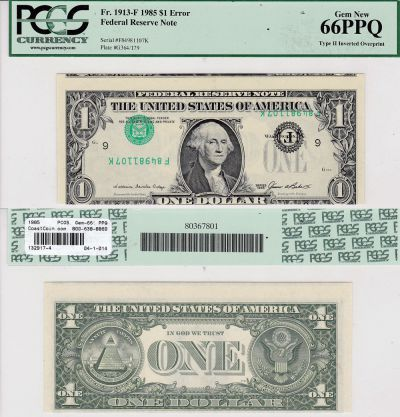 1985. $1. PCGS. Gem-66. PPQ. Federal Reserve Note.