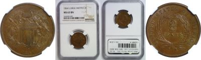1864 Large Motto. NGC. MS-63. BN.