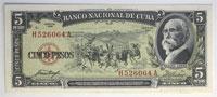 1958. Cuba. 5 Pesos. GCU. P-91a.