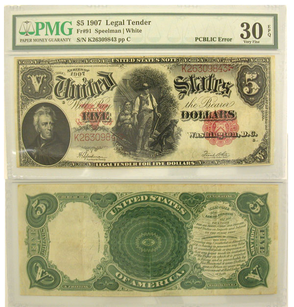 132509- 1907. $5. PMG. VF-30. Legal Tender Note.