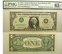 1974. $1. PMG. Gem-65. EPQ. Federal Reserve Note.