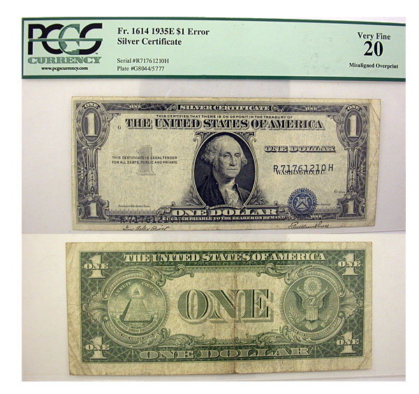 132865- 1935-E. $1. PCGS. VF-20. Silver Certificate.