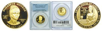 2008-W. PCGS. PR-69. DCAM. Elizabeth Monroe $10.