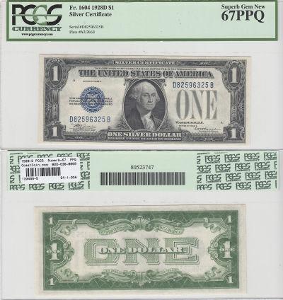 1928-D. $1. F-1604. PCGS. Superb-67. PPQ. Silver C