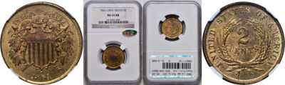 1864 Large Motto. NGC. MS-65. RB.