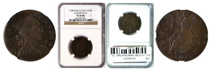 134347- 1788. Connecticut. NGC. VF-20. BN.