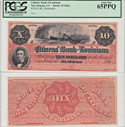 1860's. $10. PCGS. Gem-65. PPQ. LA.