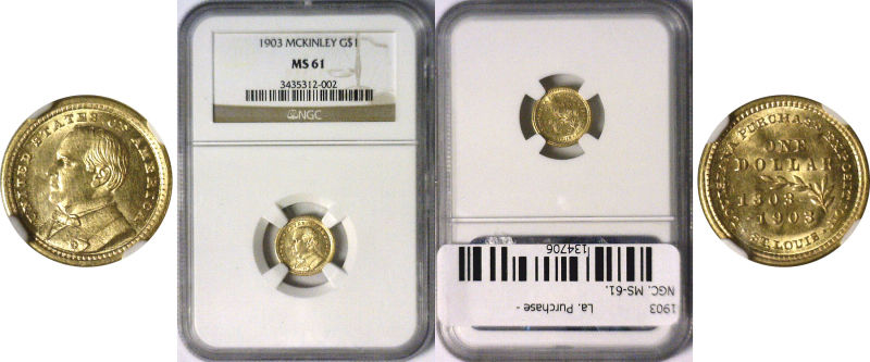 134706- 1903. NGC. MS-61. La. Purchase - McKinley $1.