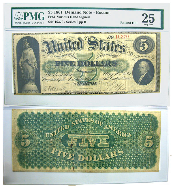 135930- 1861. $5. F-3. PMG. VF-25. Demand Note.
