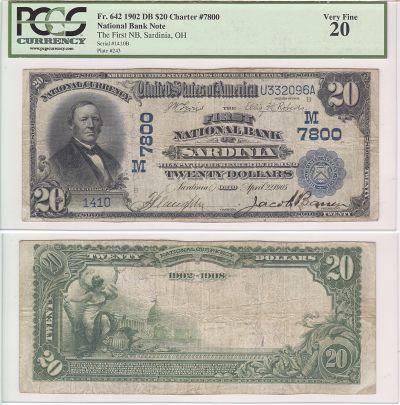 1902. $20. PCGS. VF-20. OH. Sardinia. Charter 7800