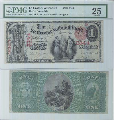 1875. $1. PMG. VF-25. WI. La Crosse. Charter 2344.