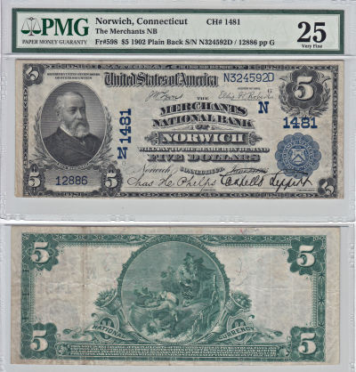 1902. $5. PMG. VF-25. CT. Norwich. Charter 1481.