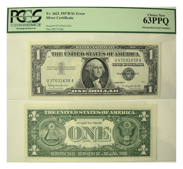 136056- 1957-B. $1. PCGS. Ch New-63. PPQ. Silver Certificate.