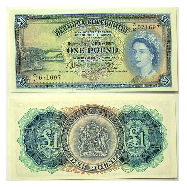 136959- 1957. Bermuda. One Pound. CCU. P-20c.