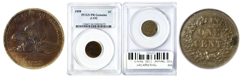 "137555- 1858. Flying Eagle Cent. PCGS. ""Genuine"". J-192."
