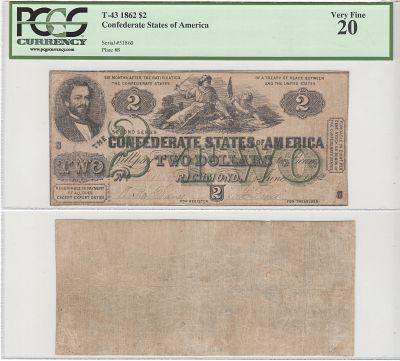 1862. $2. PCGS. VF-20. T-43.