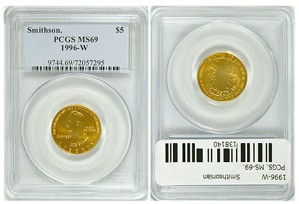 138140- 1996-W. PCGS. MS-69. Smithsonian $5.