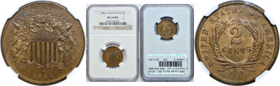1864 Large Motto. NGC. MS-64. BN.