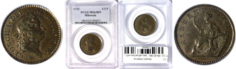 139095- 1723. Wood's Hibernia. PCGS. MS-63. BN.
