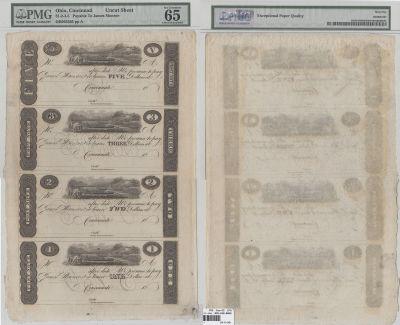 1810's. $5,$3,$2,$1.. PMG. Gem-65. EPQ. OH.