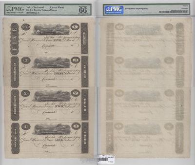 1810's. $5,$3,$2.$1.. PMG. Gem-66. EPQ. OH.