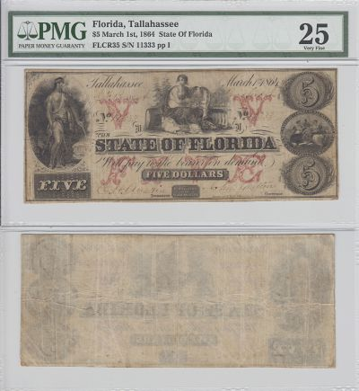 1864. $5. PMG. VF-25. FL.